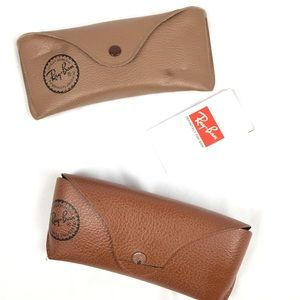 (2) pairs empty ray ban glasses shades case